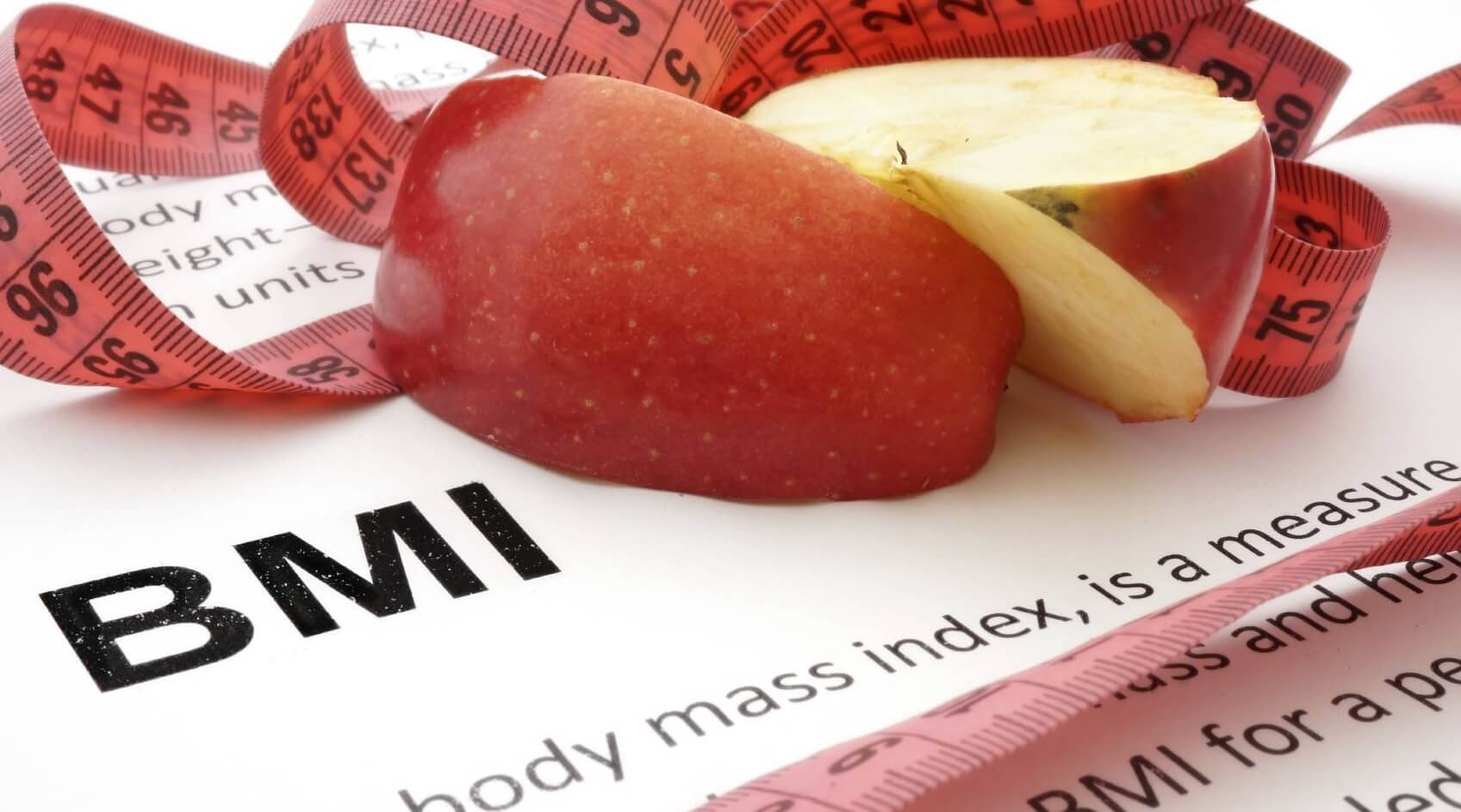 BMI graphic with apple and tape measure